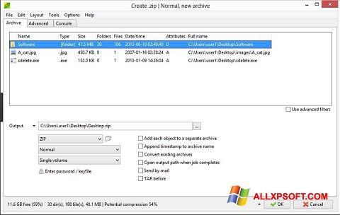 Screenshot PeaZip für Windows XP