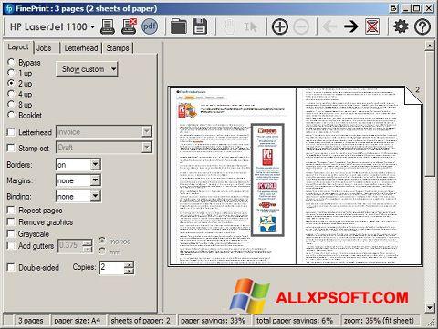 Screenshot FinePrint für Windows XP