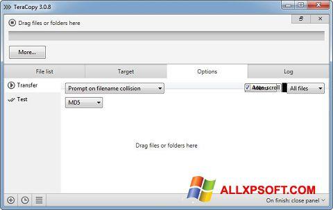 Screenshot TeraCopy für Windows XP
