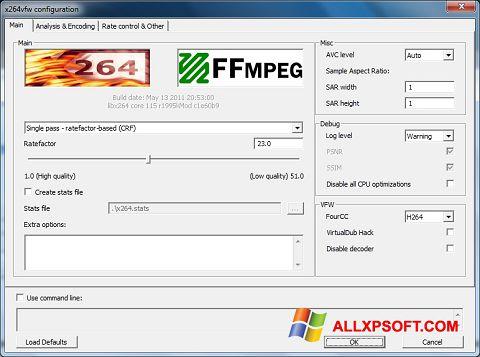 Screenshot x264 Video Codec für Windows XP