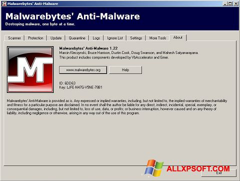 Screenshot Malwarebytes Anti-Malware Free für Windows XP