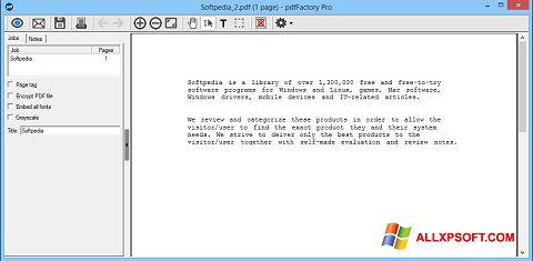 Screenshot pdfFactory Pro für Windows XP