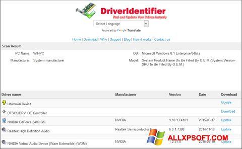 Screenshot Driver Identifier für Windows XP