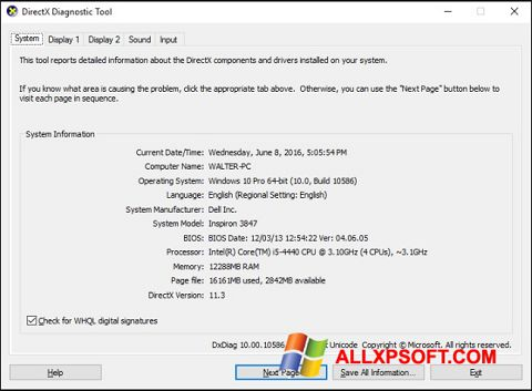 Screenshot DirectX für Windows XP
