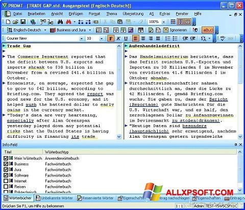 Screenshot PROMT für Windows XP