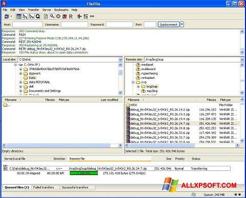 Screenshot FileZilla für Windows XP