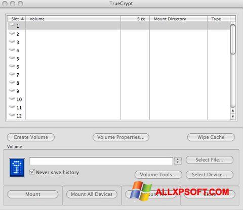 Screenshot TrueCrypt für Windows XP