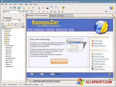 Screenshot KompoZer für Windows XP