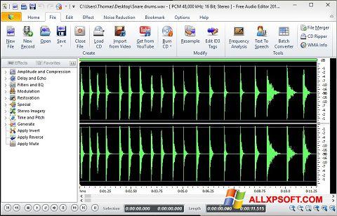 Screenshot Free Audio Editor für Windows XP