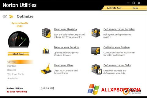 Screenshot Norton Utilities für Windows XP