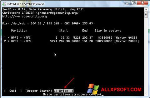 Screenshot TestDisk für Windows XP
