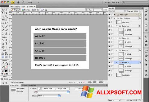 Screenshot Adobe Fireworks für Windows XP