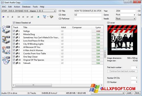 Screenshot Exact Audio Copy für Windows XP