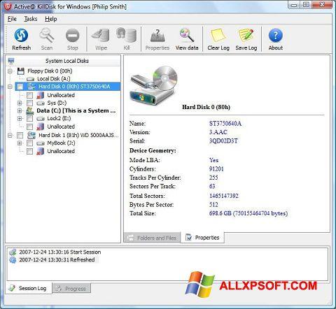 Screenshot Active KillDisk für Windows XP
