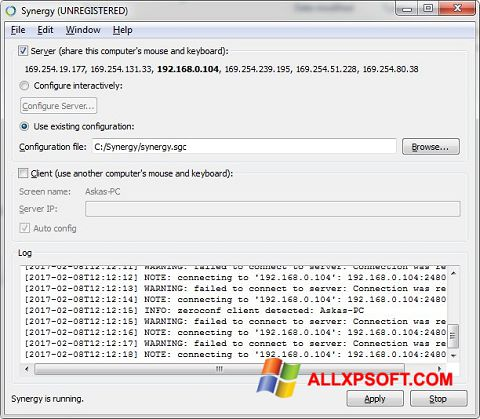 Screenshot Synergy für Windows XP