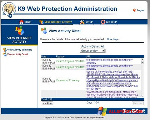Screenshot K9 Web Protection für Windows XP