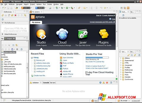Screenshot Aptana Studio für Windows XP
