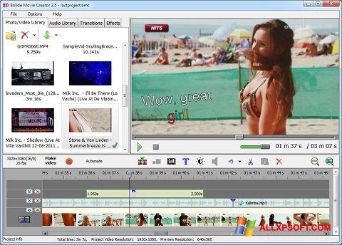 Screenshot Bolide Movie Creator für Windows XP