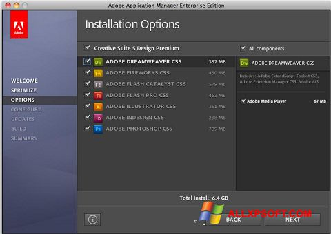 Screenshot Adobe Application Manager für Windows XP