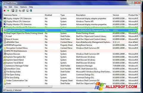 Screenshot ShellExView für Windows XP