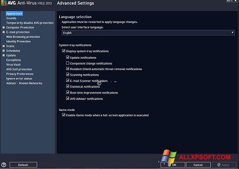 Screenshot AVG für Windows XP