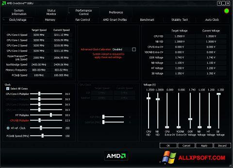 Screenshot AMD Overdrive für Windows XP