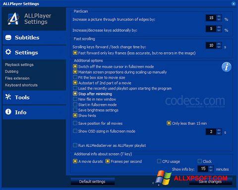 Screenshot ALLPlayer für Windows XP