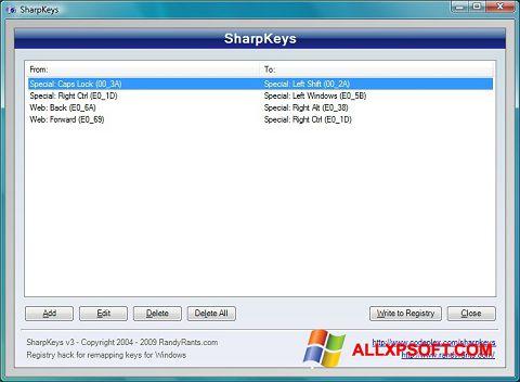 Screenshot SharpKeys für Windows XP