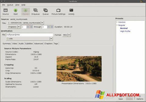 Screenshot HandBrake für Windows XP
