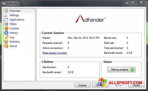 Screenshot AdFender für Windows XP