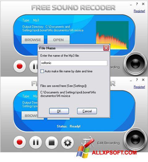 Screenshot Free Sound Recorder für Windows XP