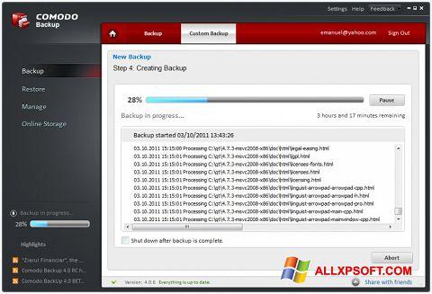 Screenshot Comodo BackUp für Windows XP