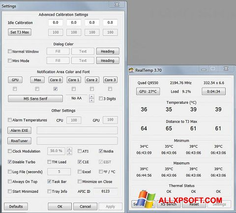 Screenshot Real Temp für Windows XP