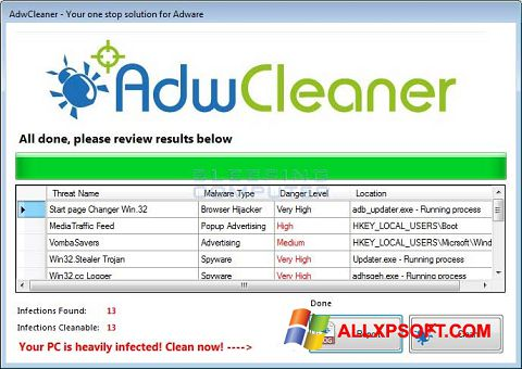 Screenshot AdwCleaner für Windows XP