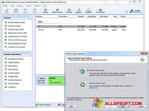 Screenshot AOMEI Partition Assistant für Windows XP