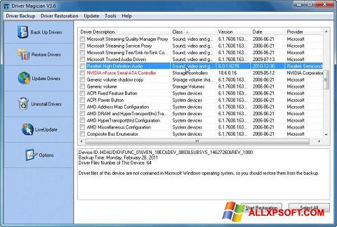 Screenshot Driver Magician für Windows XP