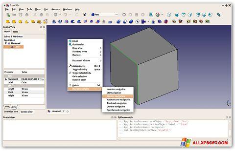 Screenshot FreeCAD für Windows XP
