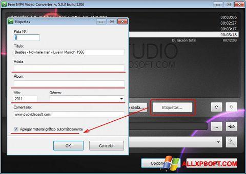 Screenshot Free MP4 Video Converter für Windows XP
