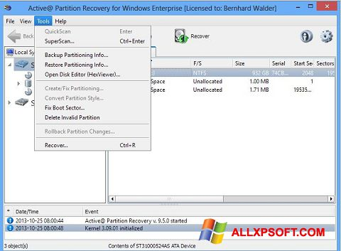 Screenshot Active Partition Recovery für Windows XP