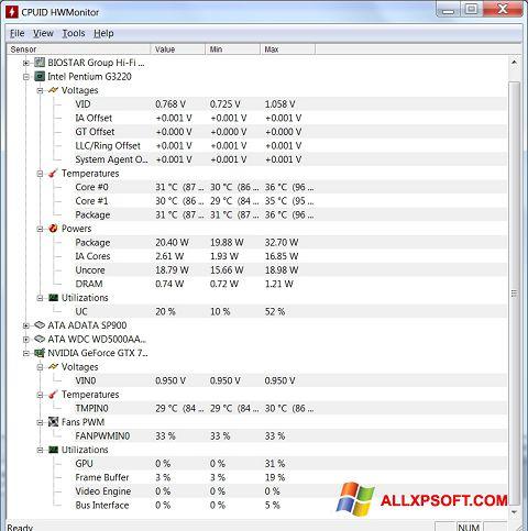 Screenshot HWMonitor für Windows XP