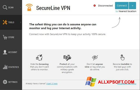 Screenshot Avast SecureLine VPN für Windows XP