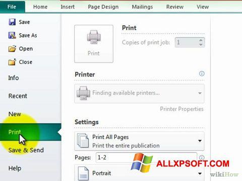 Screenshot Microsoft Publisher für Windows XP
