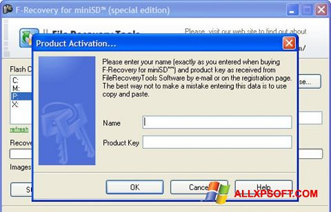 Screenshot F-Recovery SD für Windows XP