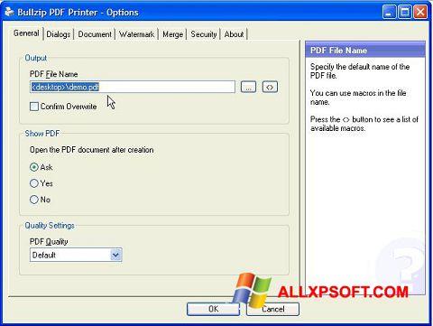 Screenshot BullZip PDF Printer für Windows XP