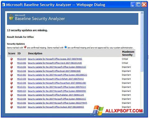 Screenshot Microsoft Baseline Security Analyzer für Windows XP