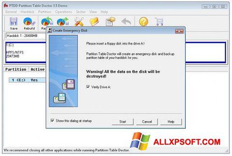 Screenshot Partition Table Doctor für Windows XP