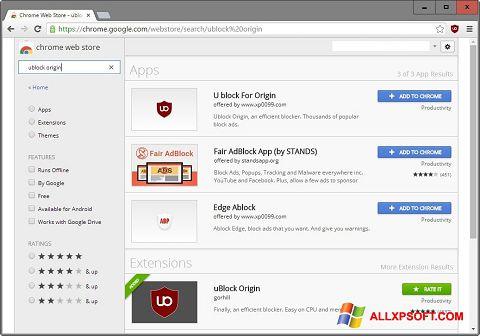 Screenshot uBlock für Windows XP