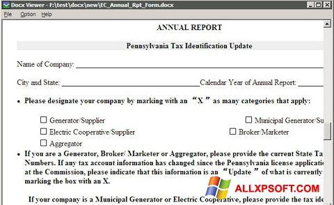 Screenshot DocX Viewer für Windows XP