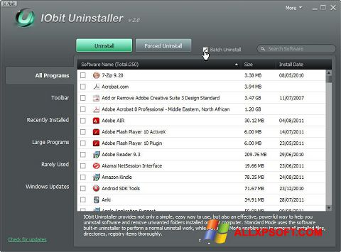 Screenshot IObit Uninstaller für Windows XP
