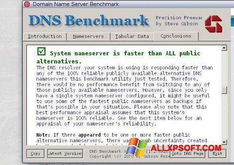 Screenshot DNS Benchmark für Windows XP